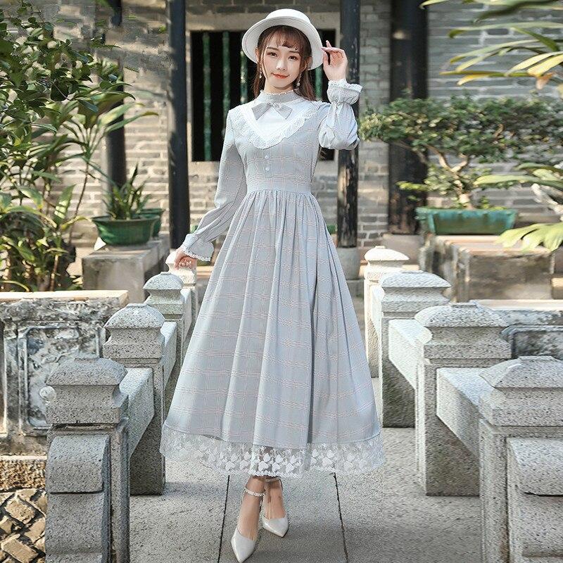 ฤดูใบไม้ผลิฤดูใบไม้ร่วงผู้หญิง Retro retro Elegant ยาว Palace สไตล์เสื้อแขนยาวลายลูกไม้ Patchwork modis แสงสีเทายาว-ใน ชุดเดรส จาก เสื้อผ้าสตรี บน   1