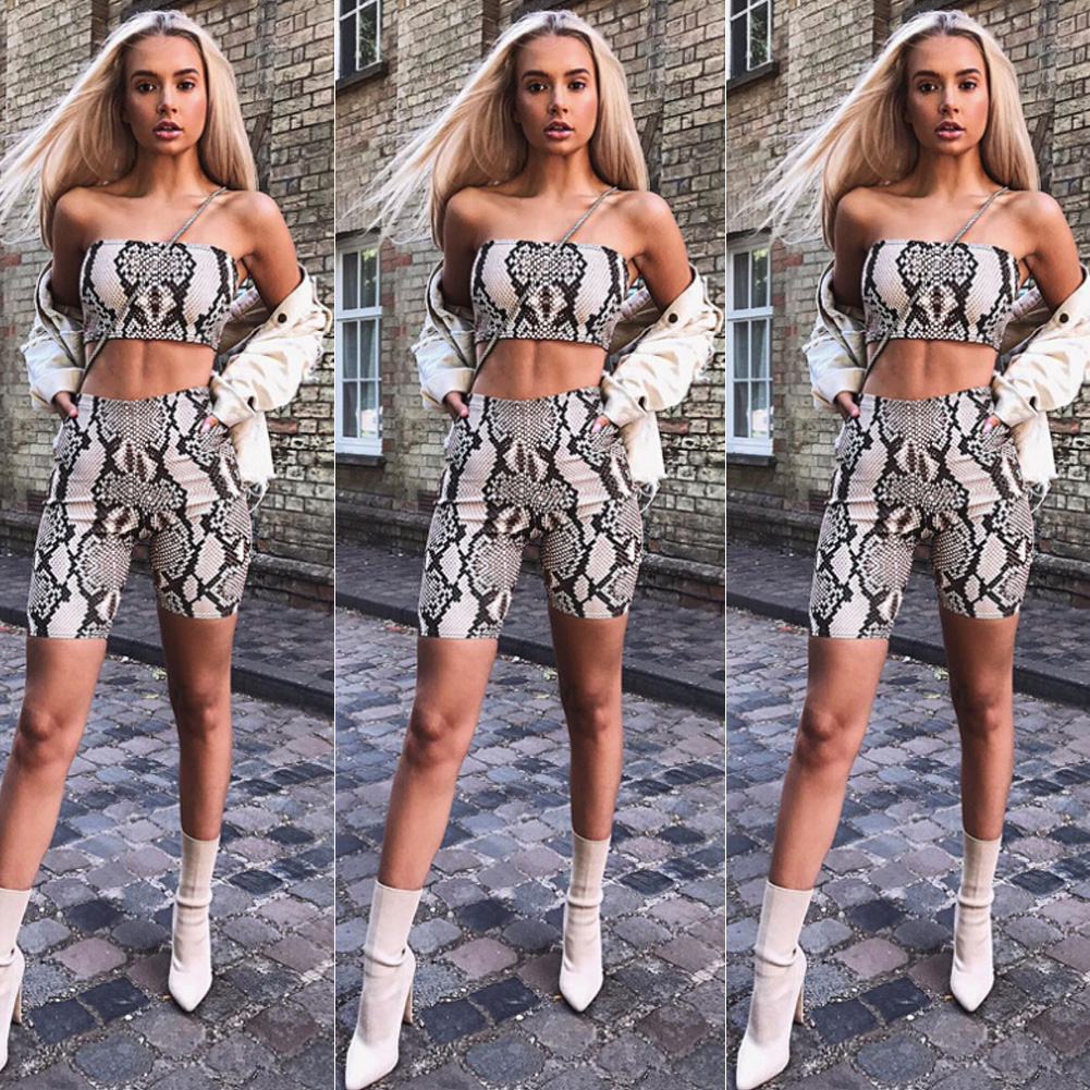Womens Autumn Casual Shinny Tube Top Shorts Bodycon Two Piece Set Outfits Short Sport Jumpsuit Sets 4