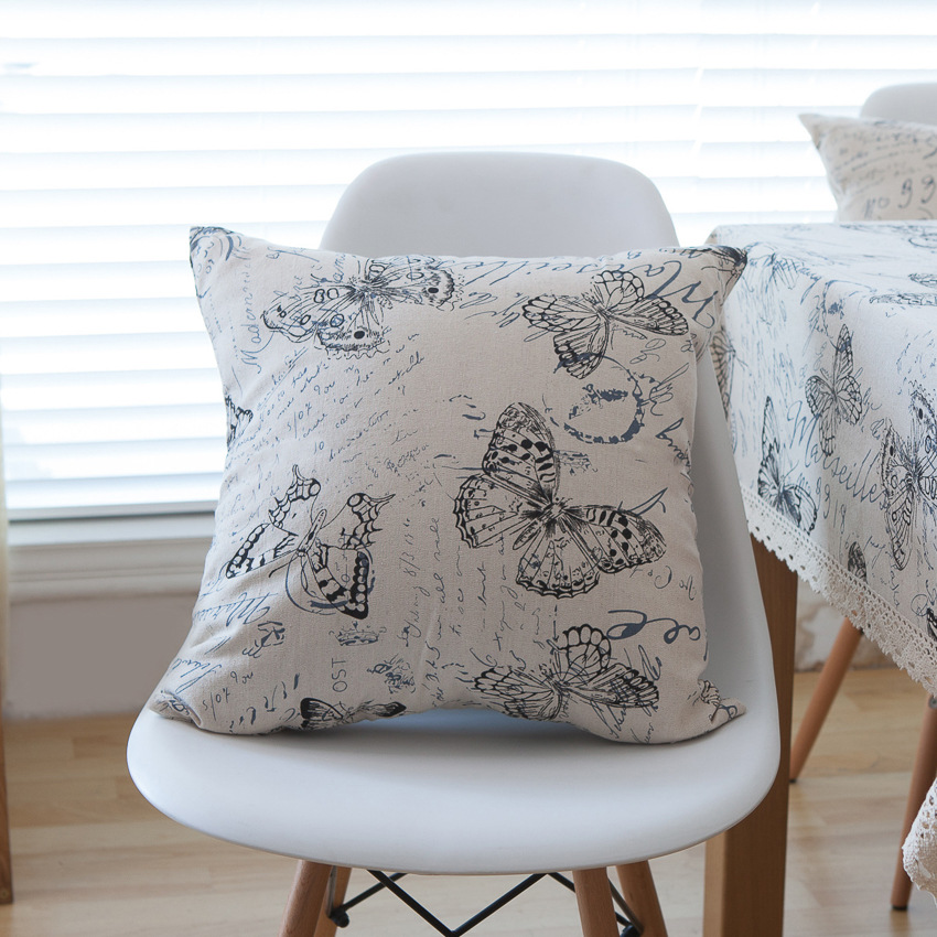 Black White Butterfly Printed Cushion Covers Car Sofa Decor Linen Throw Pillow Cover 45x45 American Country Home Textile 60x60