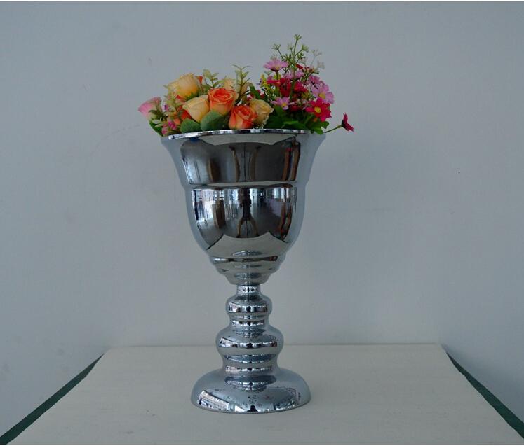 hcm plateado tamao medio piso jarrones decoracin de la boda florero florero para la decoracin de