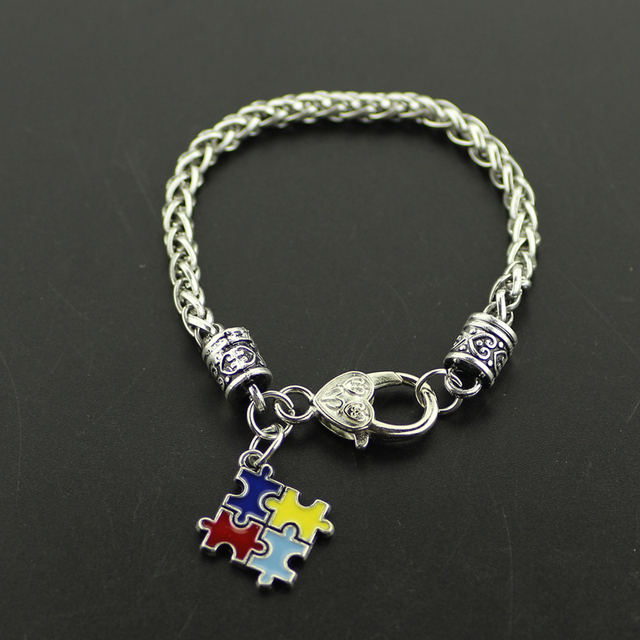 Fashion Bracelets Bangles Alloy Enamel Autism Awareness Puzzle Piece Autistic Charm Bracelet Lobster Claw