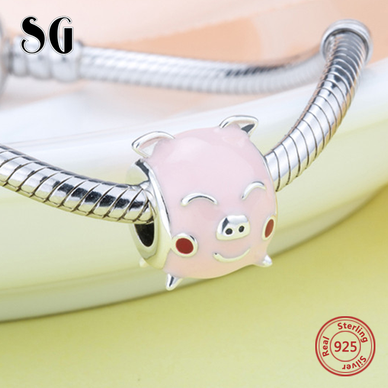 100% Authentic 925 Sterling Silver cute pig charms with pink enamel Fit original pandora bracelet Beads for jewelry making kids strollgirl car keys 100% sterling silver charm beads fit pandora charms silver 925 original bracelet pendant diy jewelry making