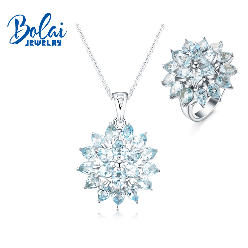 Bolaijewelry,natural aquamarine jewelry set pendant and rings 925 sterling silver fine jewelry gemstone set woman Christmas gift