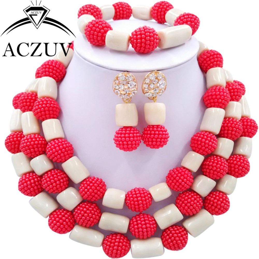 Здесь продается  Brand ACZUV African Wedding Coral Beads Necklace Ivory and Red Imatation Pearl Jewelry Set Nigerian Women Necklaces AN069  Ювелирные изделия и часы