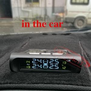 Image 5 - Akıllı araba TPMS lastik basıncı İzleme sistemi güneş enerjisi şarj dijital LCD ekran oto güvenlik Alarm sistemleri