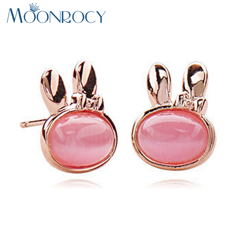 MOONROCY Free Shipping Fashion Jewelry Wholesale Rose Gold Color Opal  Crystal Earrings Cute Rabbit for Women Girls Gift a5f1896b4c