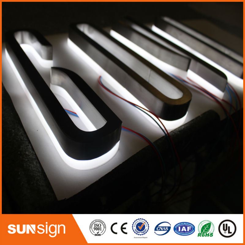 Decorated Illuminated Backlit Brush Metal Stainless Steel LED Letters
