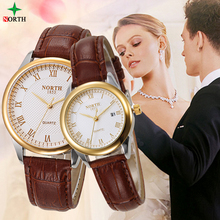 Couple Watches Men Women 30M Waterproof Leather Strap Casual Analog Wristwatch Fashion Dress Auto Date NORTH Quartz Lovers Watch