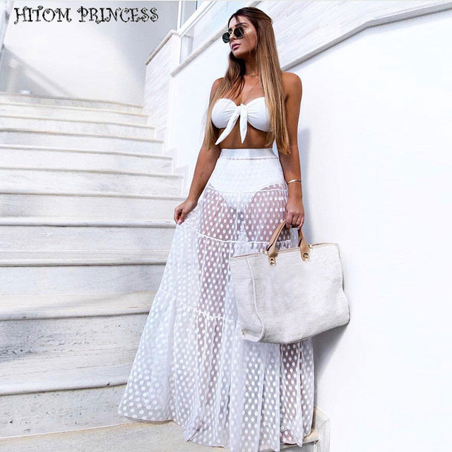 HITOM PRINCESS Women Mesh Maxi Skirt A-Line Transparent Tulle Pleated Long Skirts Female Summer Dot High Waist Club Party Skirts