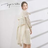 JUPE VENDUE Mùa Thu Mới Womens Fashion Suit Coat Rãnh Ren Rỗng Ra Đôi Ngực Áo Gió Coat Khoác 30116