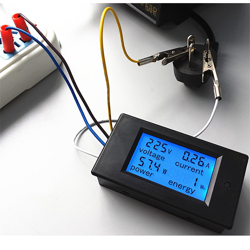 Accurate Energy Meter Voltage Current Power 80-260V/20A AC Voltmeter Ammeter Blue Backlight Overload Alarm Function for Indoor