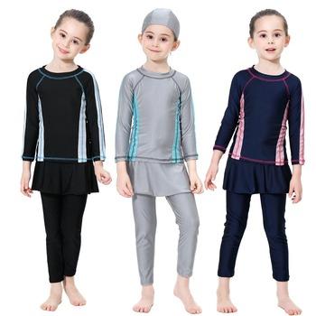 2020 nowy islamski strój do pływania dla dziewczynek skromne pełne pokrycie kąpielówki muzułmańskie z długim rękawem spódnica strój kąpielowy dla dzieci islamski 90-110-160 tanie i dobre opinie Liva girl NYLON spandex H2011 Pasuje prawda na wymiar weź swój normalny rozmiar