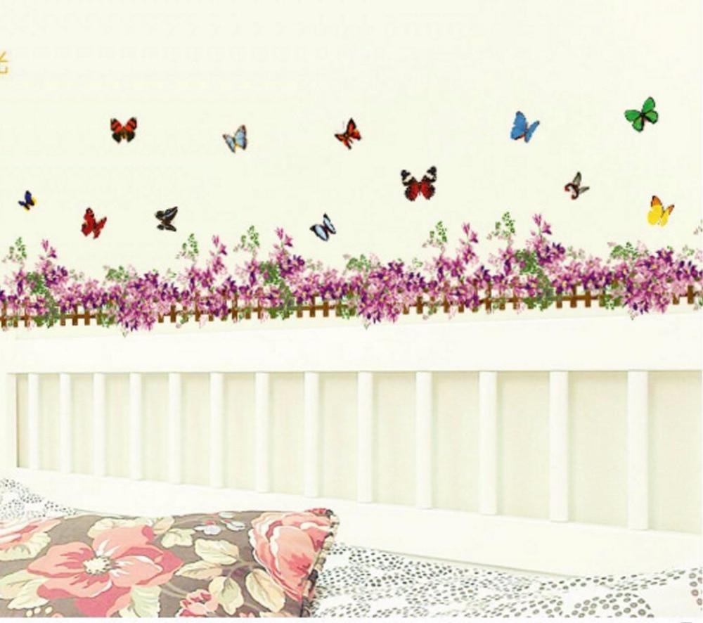 Purple Flower Butterfly Fence Vinyl Removable Stickers for Nursery Kids Bathroom Window Showcase Decor Mural Wall Sticker Decals