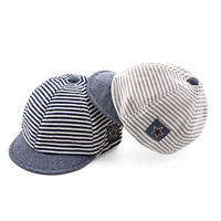 Summer Cotton Comfortable Infant Hats Cute Casual Striped Soft Eaves Baseball Cap Baby Boy Beret Baby