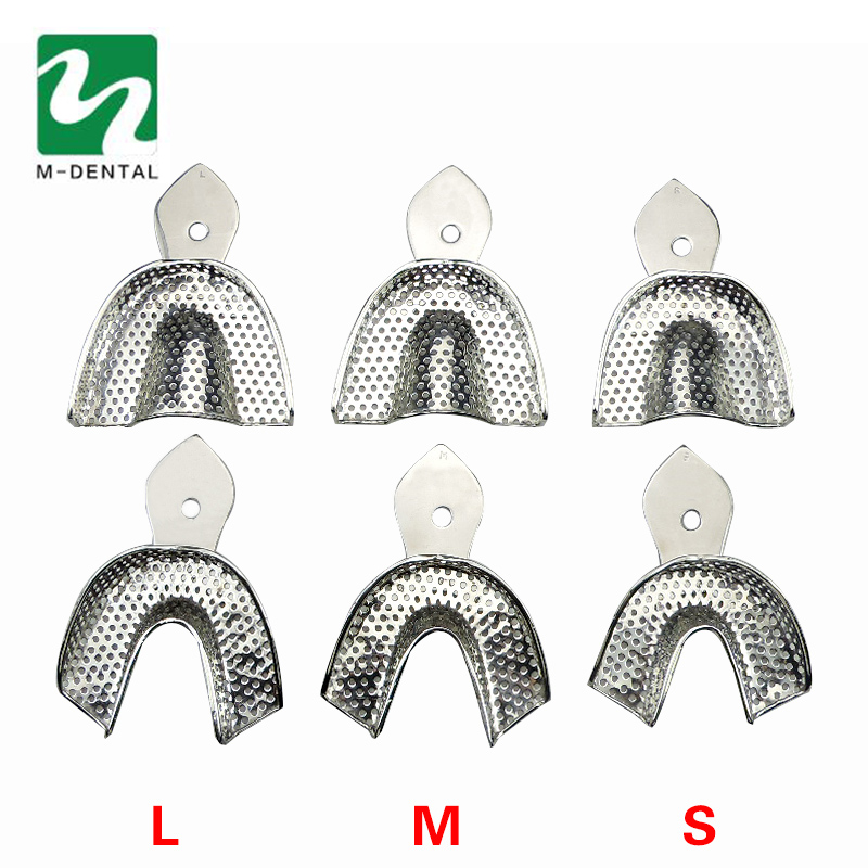 6Pcs/Set Dental Trays Denture Instruments Stainless steel Impression Tray with 3 Upper and 3 Lower &Size Large/Medium/Small xingbao 04001 block 2020pcs genuine creative movie series the robot set children educational building blocks bricks toy xb 04001