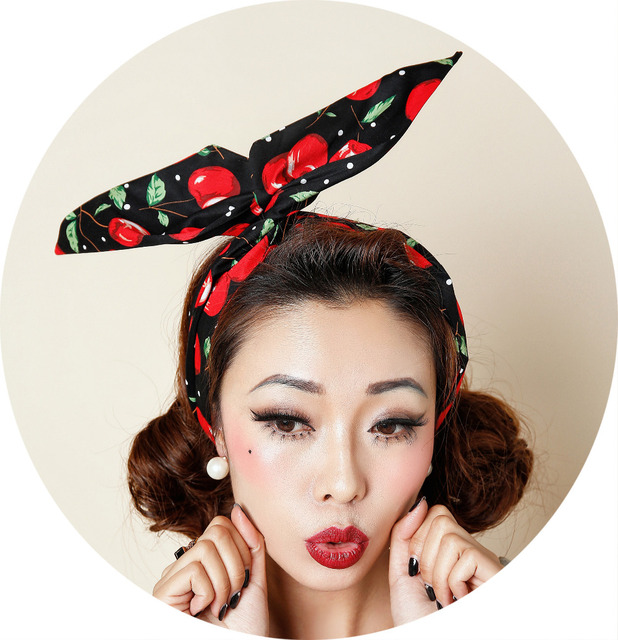 1950s Women Vintage Cherry Polka Dot Pinup Rockabilly Hair