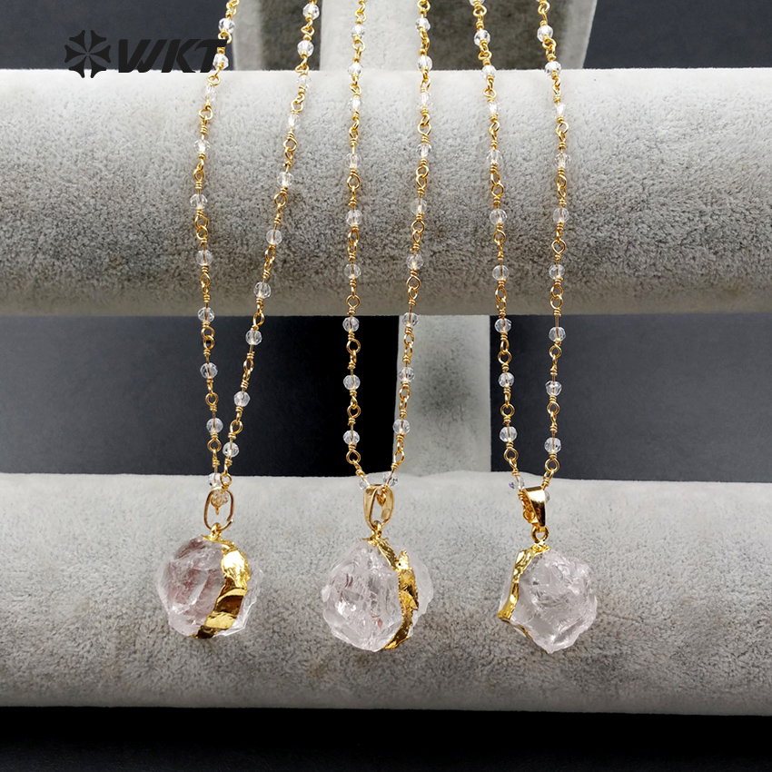 WT N1029 WKT Wholesale Jewelry Natural Qurtz Crystal Pendant Necklace Clean Crystal 18 inches Beads Chain