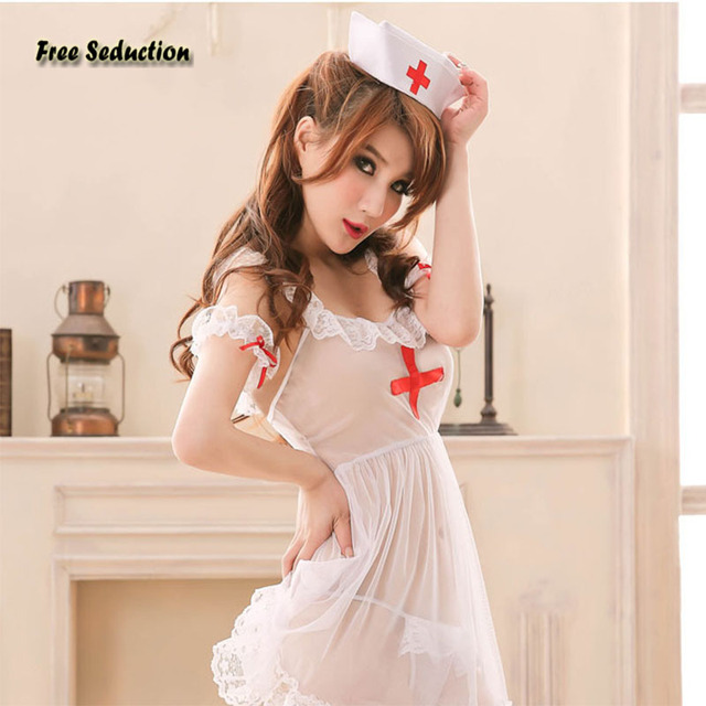 Free Seduction High Quality Sexy Lingerie Novelty Special Use Net Yarn Lace Perspective Nurse Uniforms Erotic Skirt