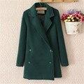 Ropa de mujer Retro de doble botonadura abrigo 2016 largas secciones de doble botonadura abrigo de lana de las mujeres