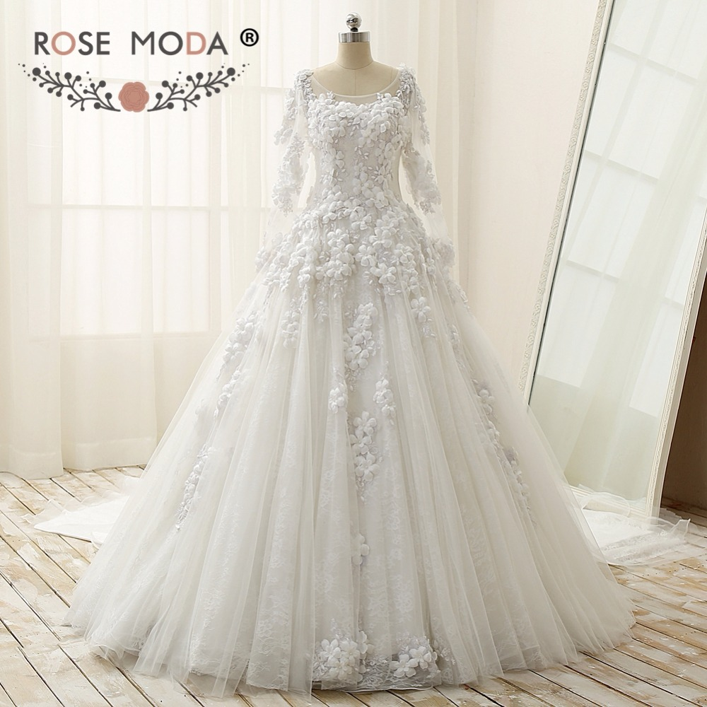 Royal Wedding Ball Gown: Rose Moda Luxury Long Sleeves Ball Gown With Royal Train