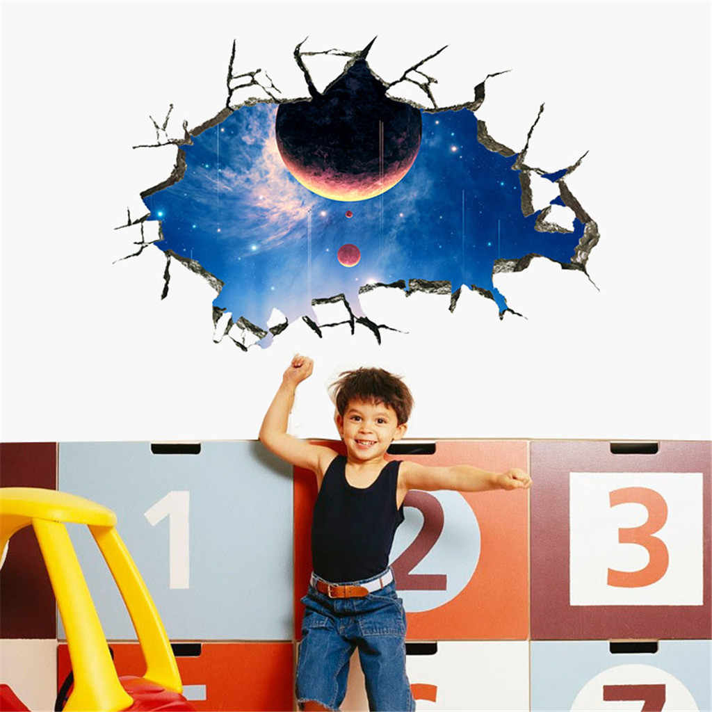 3D Broken Wall Galaxy Planets Wall Stickers Floor Wallpaper Removable Mural Decals  Living Room Ceiling Decoration For Kids Room