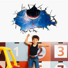 3D Broken Wall Galaxy Planets Wall Stickers Floor Wallpaper Removable Mural Decals Living Room Ceiling Decoration For Kids Room(China)