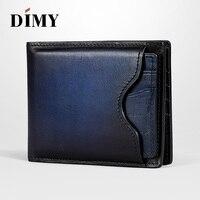 Dimy 2018 Top Vintage Men genuine Leather Luxury Wallet Short Portefeuille Hommes Business Card Holder Men's Purses