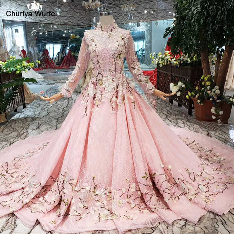 LS169901-2 pink flowers evening dresses high neck long tulle sleeves lace up back muslim girls pageant party dresses custom size