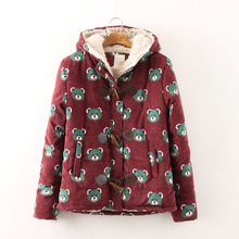 2017 New Mori Girl Autumn and Winter Winnie Horn Button with A Hood Pocket Thickening Cotton