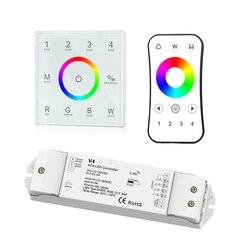 Nowy Led RGBW kontroler taśmy 2.4 GHz RF bezprzewodowy 12 V-24 V panel dotykowy kontroler RGBW V4 CV odbiornik 12 V 5A * 4CH R8 RF pilot zdalnego sterowania