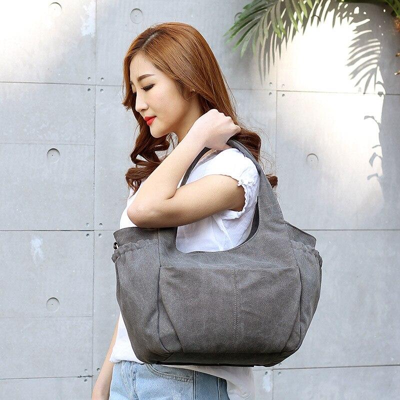 Preppy Style Women's Canvas Handbags Ladies Shoulder Crossbody Bag Solid Colour Messenger Bags Tote Bags