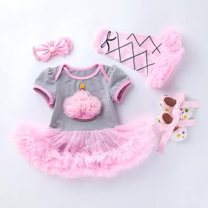Image 3 - 4PCs pro Set Grau Rosa Nette 1st 2nd Geburtstag Baby Mädchen Tutu Kleid Prinzessin Crown Jumpersuit Stirnband Schuhe Leggins 0 24Months