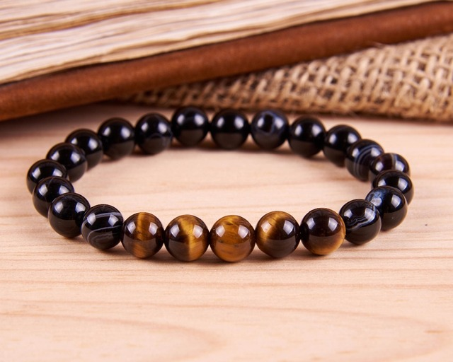 Stripe Agates Stone Bracelets Yoga Mala Beaded Bracelet Best Wrist Gift For Him Tiger Eye