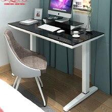 Электрический подъемный компьютерный стол из закаленного стекла, стоячий подъемный стол, простой компьютерный стол