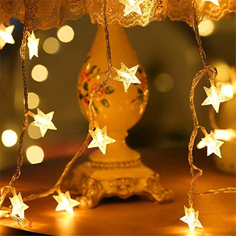 SICCSAEE LED Star Fairy Garland String Lights Novelty New Year Wedding Home Indoor Decoration Wishing Stars Curtain String Light