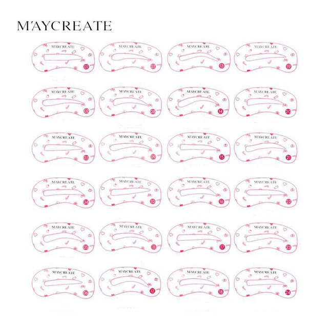 MayCreat 24 styles reusable Eyebrow stencil pencil for eyebrows enhancer drawing guide card brow template DIY make up Tools 2