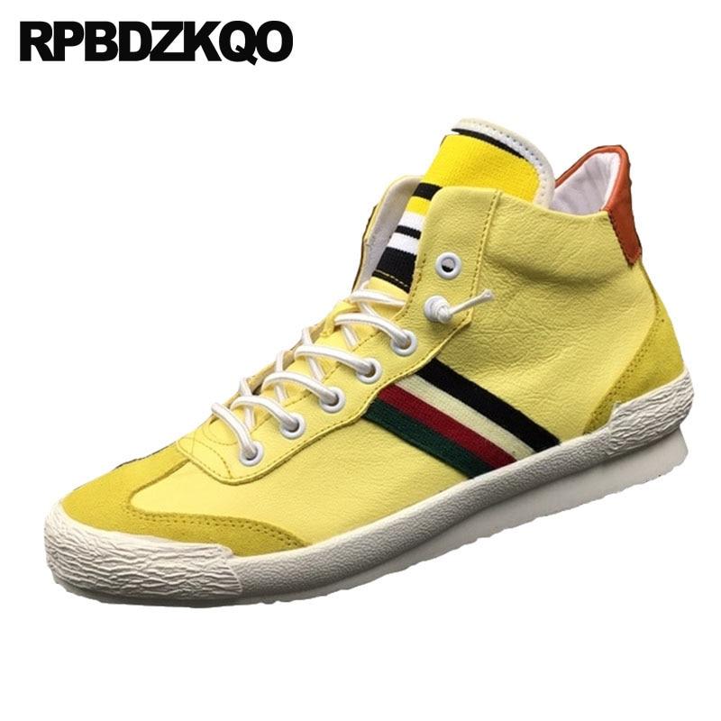 amarillo Marca La Genuino Real Estrellas Cuero Zapatillas Hip Hop Las Los Italia Amarillo Zapatos Alta Lujo Deporte Skate De Negro blanco Pisos Europeo Hombres qgPw77