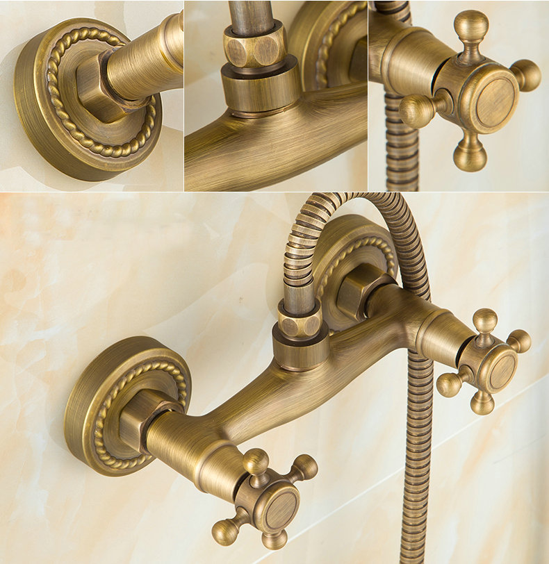 Antique Brass Bathroom Bath Wall Mounted Hand Held Shower Head Kit ...