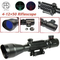 Tactical 4 12X50 Rifle Scope Magnifier Hunting Optics Fiber Sight Scope Red Green Illuminated Military Rifle