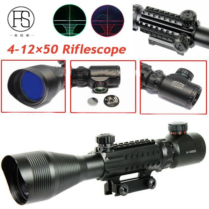 Tactical 4-12X50 Rifle Scope Magnifier Hunting Optics Fiber Sight Scope Red Green Illuminated Military Rifle Sights 20mm Rail