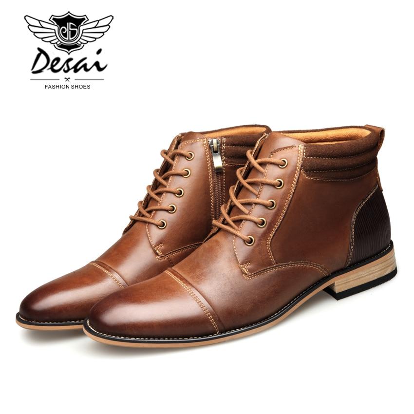 DESAI botas altas de moda Casual para Hombre Zapatos altos de invierno botas de cuero genuino de calidad superior zapatos de gran tamaño para hombre-in Botas básicas from zapatos    2