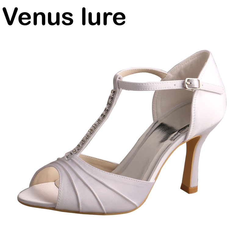 White Satin T Bar Sandals Women With Crystals High Heeled P Toe Wedding Shoes