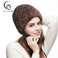 Hot Winter Women's Hat Real Mink Fur Hat Knitted Mink Fur Cap With Nature Fox Fur Brand New Thick Female Caps Warm White Hat