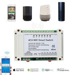 Image 4 - 4 Канальный Релейный приемник Wi Fi KTNNKG, 110 В переменного тока, 90 250 В и 12 В, Стандартный Универсальный базовый выключатель питания, беспроводной пульт дистанционного управления для умного дома
