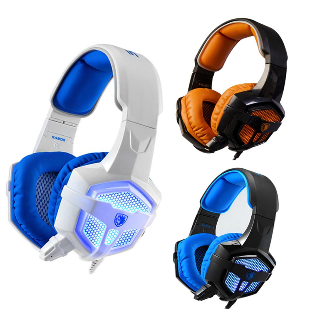 SADES 806 Pro Stereo Surround Sound Gaming Headset With Mic LED Light 3.5mm Wired Headphone Original Reinforced Headband sades a60 alloy stereo 7 1 surround pro gaming headphone usb headband pc noteboo