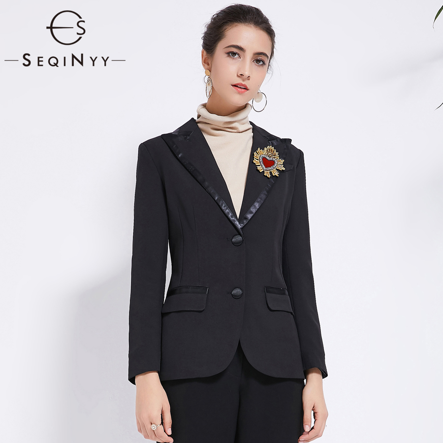 SEQINYY Casual Jackets 2018 Early Autumn Woman s New Fashion Embroidery Crystal Diamonds Pockets Single Button