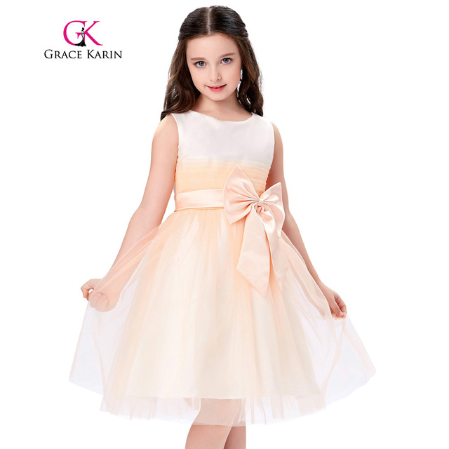 Grace karin first communion dresses for girls light orange grace karin first communion dresses for girls light orange sleeveless kids flower girls dresses princess wedding mightylinksfo