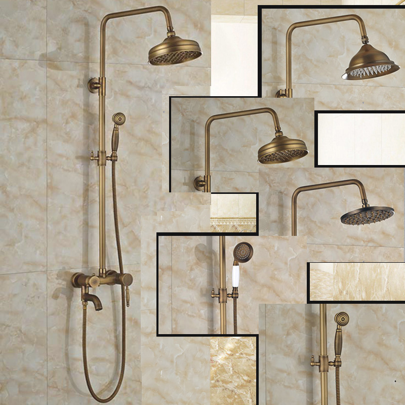 Retail Bathroom Shower Faucet Antique Brass Wall Mounted with Hot Cold Water Mixer Taps 8 inches Shower Head