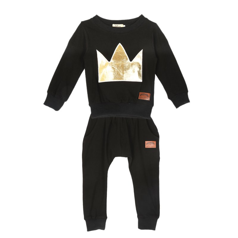 2018 Spring Autumn Newborn Clothes Set Fashion Crown Print Black Baby Boy Girl Long Sleeve T-shirt +Pants 2pcs Suit 0-36M 2pcs set baby clothes set boy