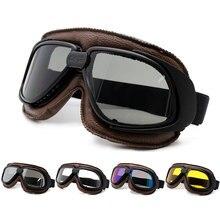 Roaopp Moto Occhiali di Protezione Del Casco Con Il Fumo Lens Classic Moto Occhiali D'epoca Pilota Biker In Pelle Moto Bike ATV Occhiali di Protezione